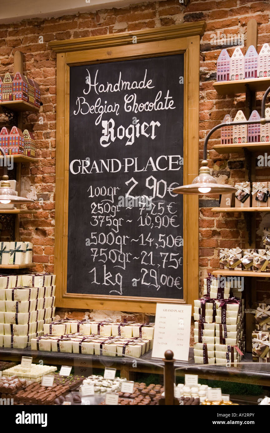 price list on black board of Belgian Chocolate at Rogier Belgian ...