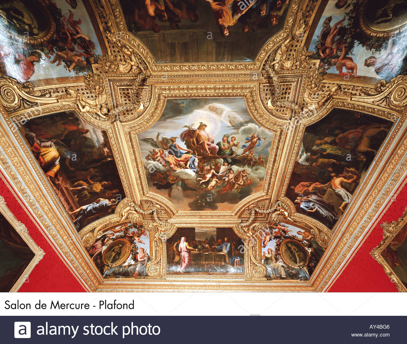 Palace of versailles salon de mercure plafond stock photo for Salon de versailles