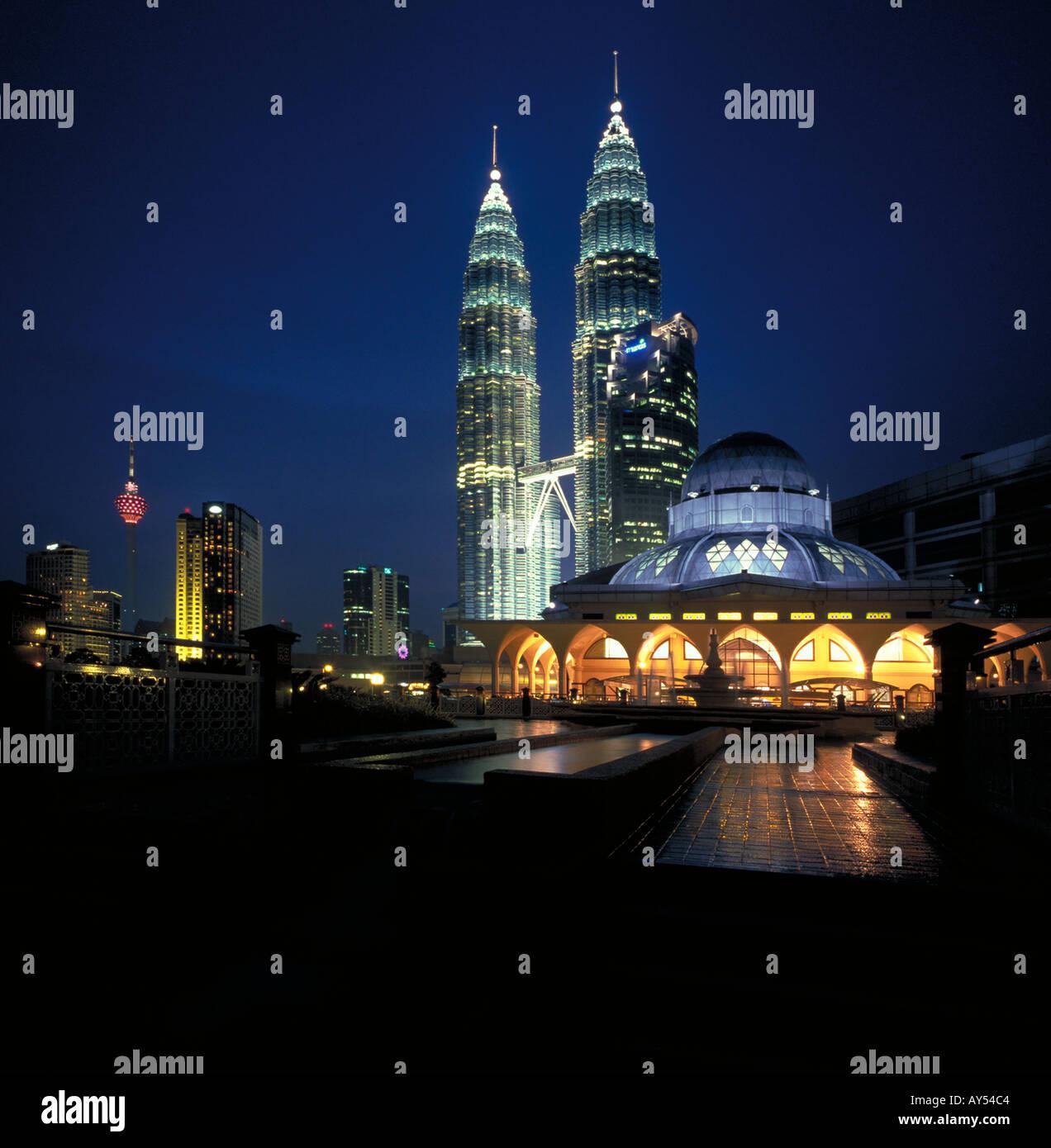 Petronas twin towers and mosque at night kuala lumpur malaysia petronas twin towers and mosque at night kuala lumpur malaysia south east asia at night buycottarizona Gallery