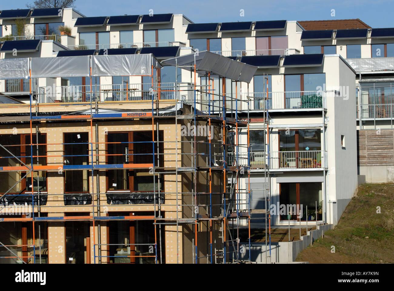 Eco-friendly apartments under construction, Leverkusen, North ...