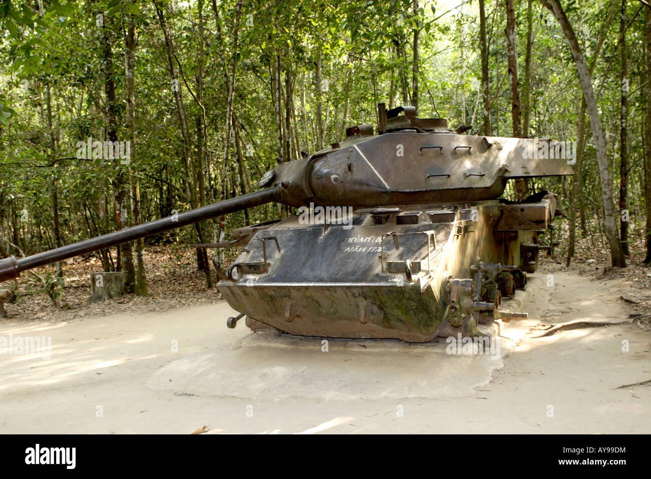 American m 41 tank destroyed by mine in vietnam war cu chi vietnam stock