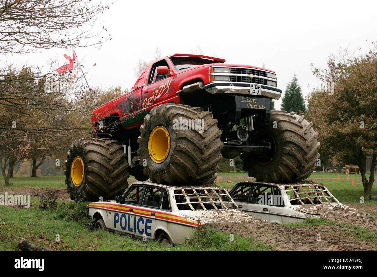 Monster Truck Crushing Police Cars Stock Photo Royalty Free Image