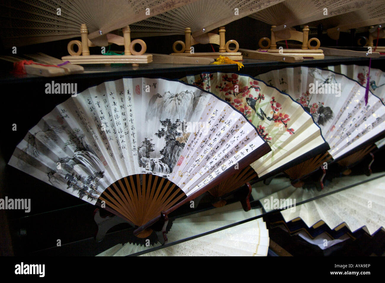 chinese fans for sale in a shop panjiayuan market beijing china