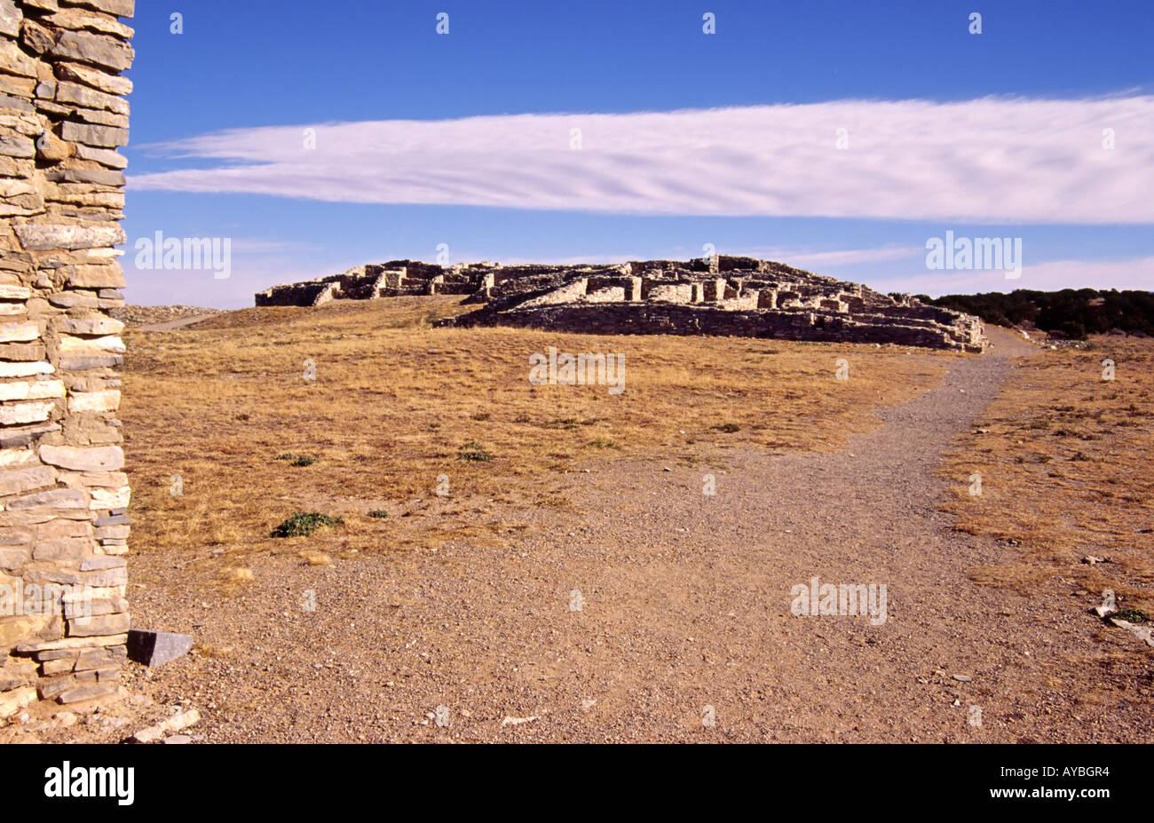 stone and adobe homes of ancient anasazi pueblo culture at gran