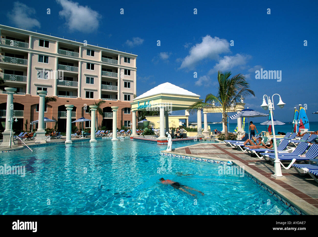 Bahamas Nassau Cable Beach Sandals Royal Bahamian Swimming Pool Stock Photo Royalty Free Image