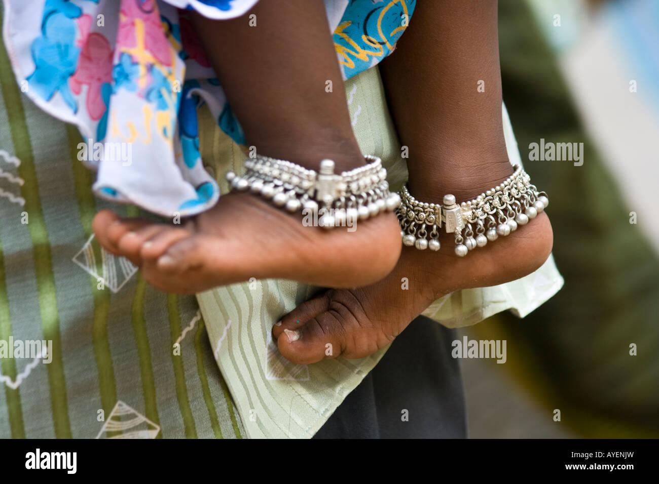 Little Girl Wearing Silver Ankle Bracelets In Sree Meenakshi Hindu Temple  In Madurai South India