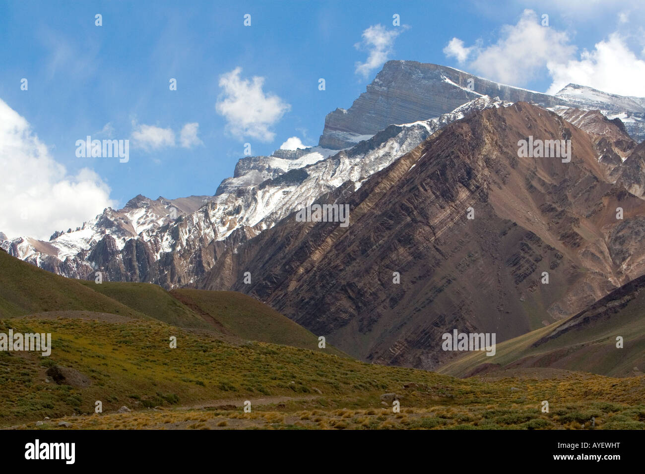 Mount Aconcagua in the Andes Mountain Range Argentina ...