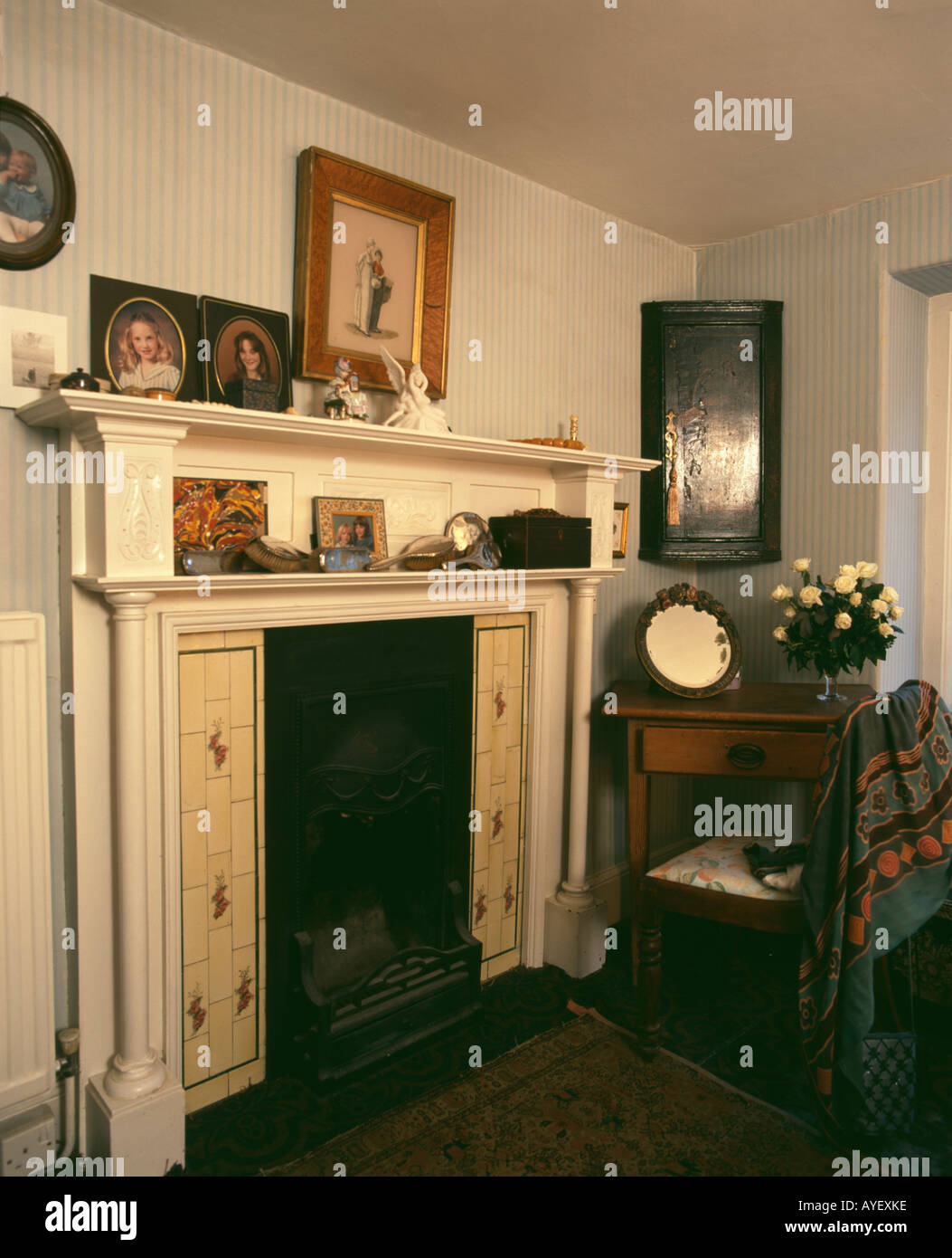 fireplace in neutral cottage livingroom stock photo royalty free