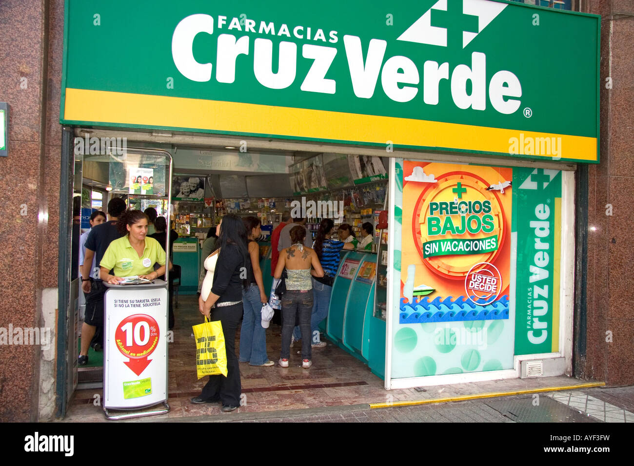 Storefront of a Cruz Verde pharmacy on the Paseo Ahumada