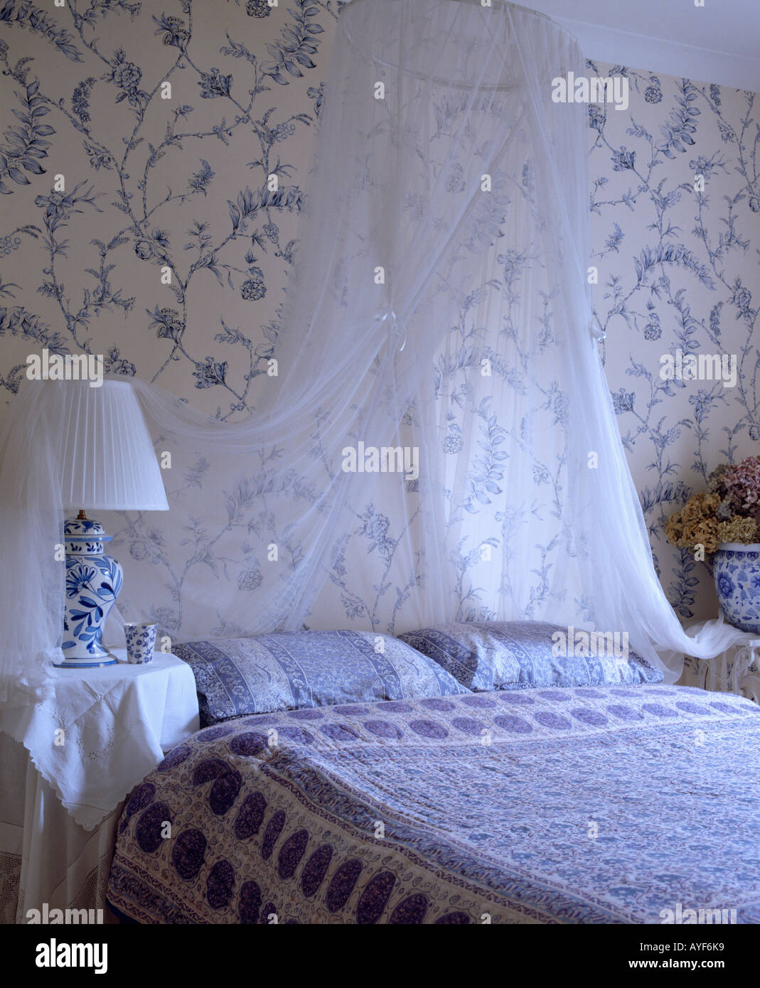 Blue and white wallpaper in bedroom with white mosquito for Blue and white bedroom wallpaper