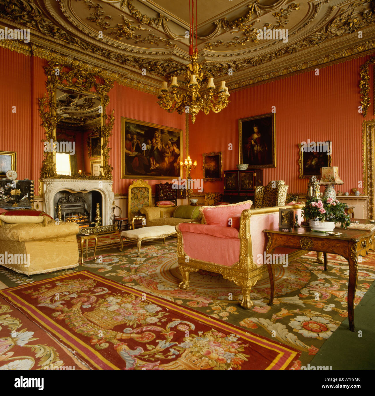 Amazing Red Drawing Room In Stately Home With Antique Furniture And Patterned  Carpet   Stock Image Part 18