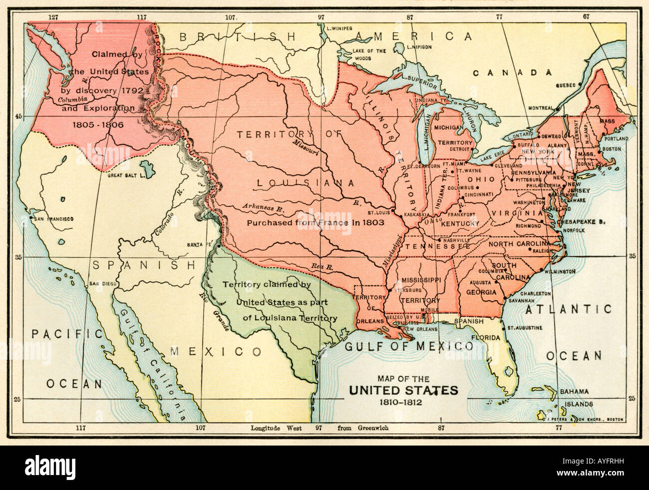 Map of the U S boundary disputes with Spain and Great Britain 1810