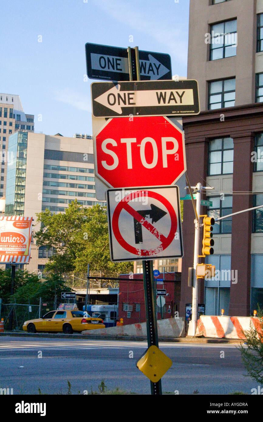 confusing roadsigns new york city ny usa stop no right