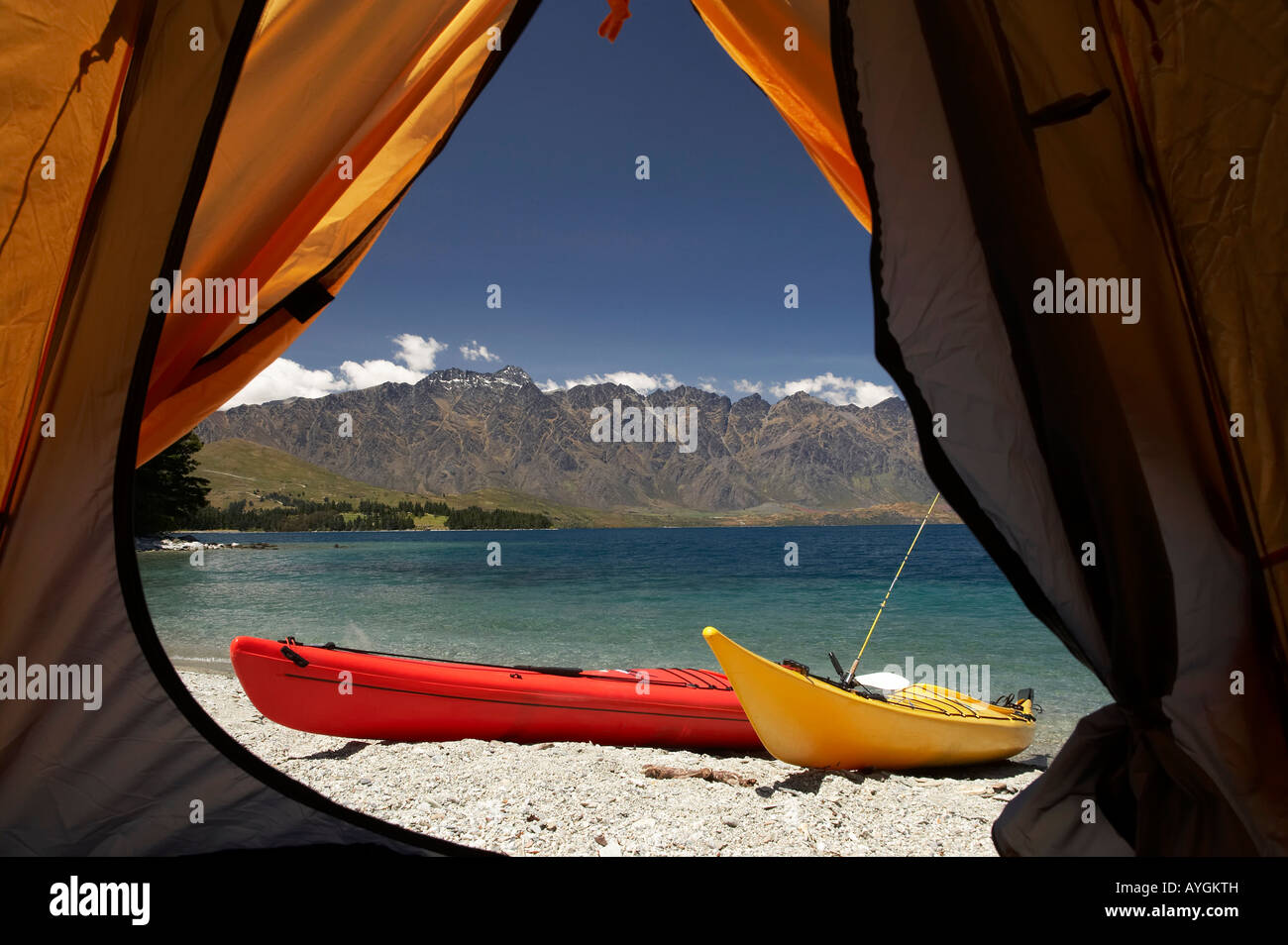 Tent Kayaks and The Remarkables Lake Wakatipu Queenstown South Island New Zealand & Tent Kayaks and The Remarkables Lake Wakatipu Queenstown South ...