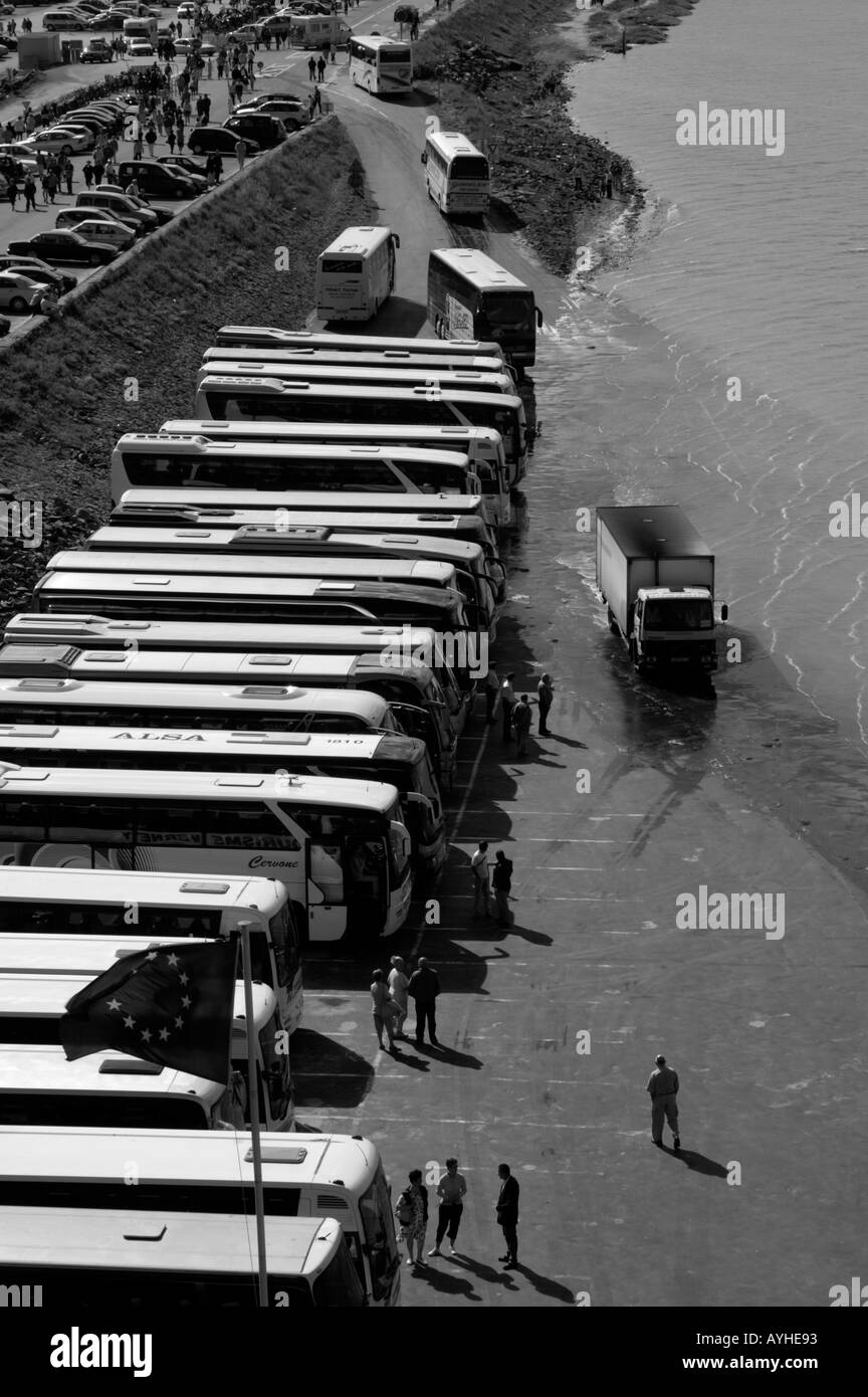 mont st michel buses parking lot stock photo royalty free image