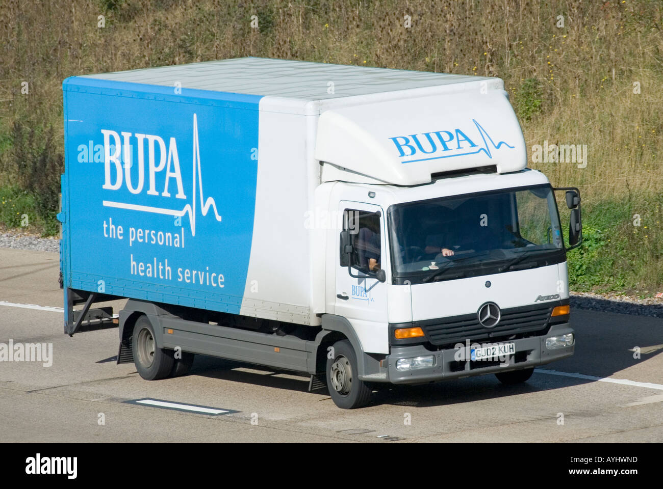 Bupa mercedes benz lorry with slogan for the personal for Mercedes benz slogan