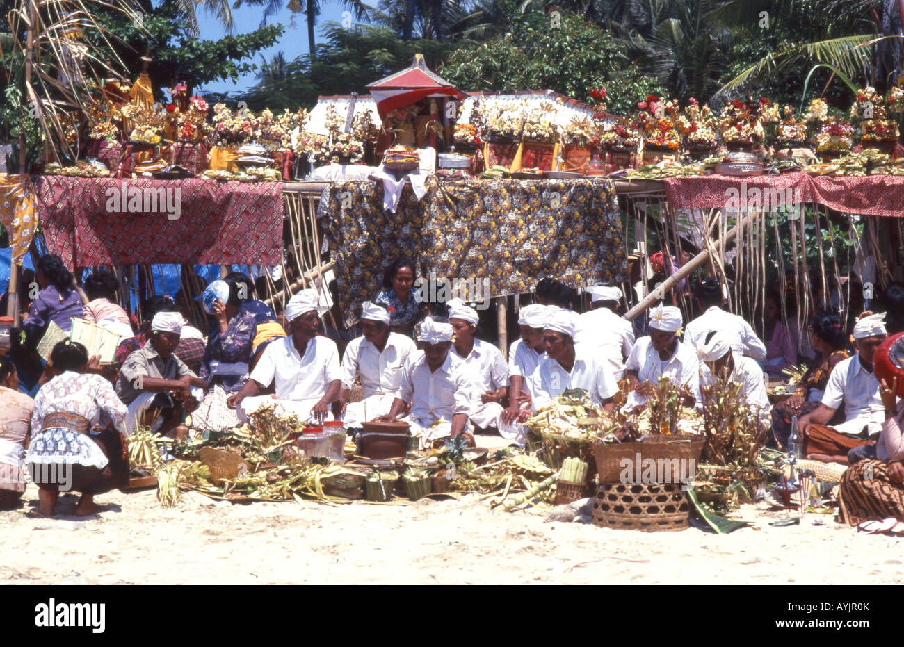 Indonesia Rituals Weddings And Funerals: Colourful Funeral Ceremony, Bali, Indonesia Stock Photo
