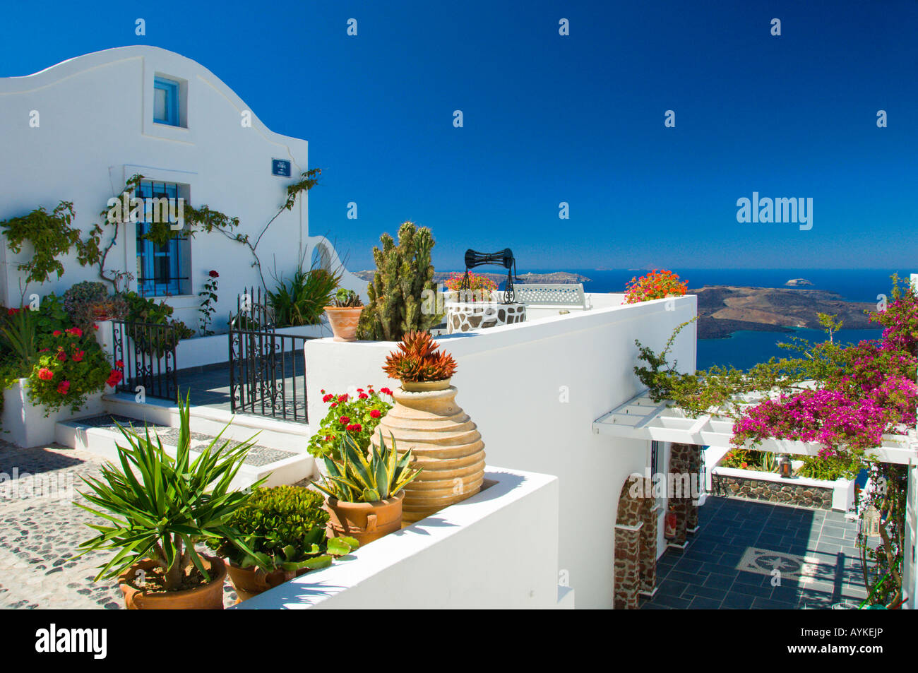 Apartment Patio And Pool Decor In The Village Of Fira On The Greek ...