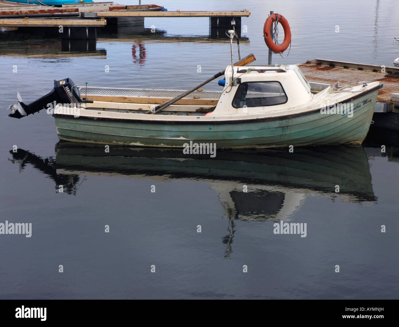 Fibre glass fishing boat with outboard motor in cromarty for Small boat motor repair