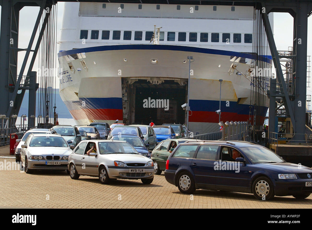 Vehicles Disembark From Brittany Ferries Val De Loire At Plymouth