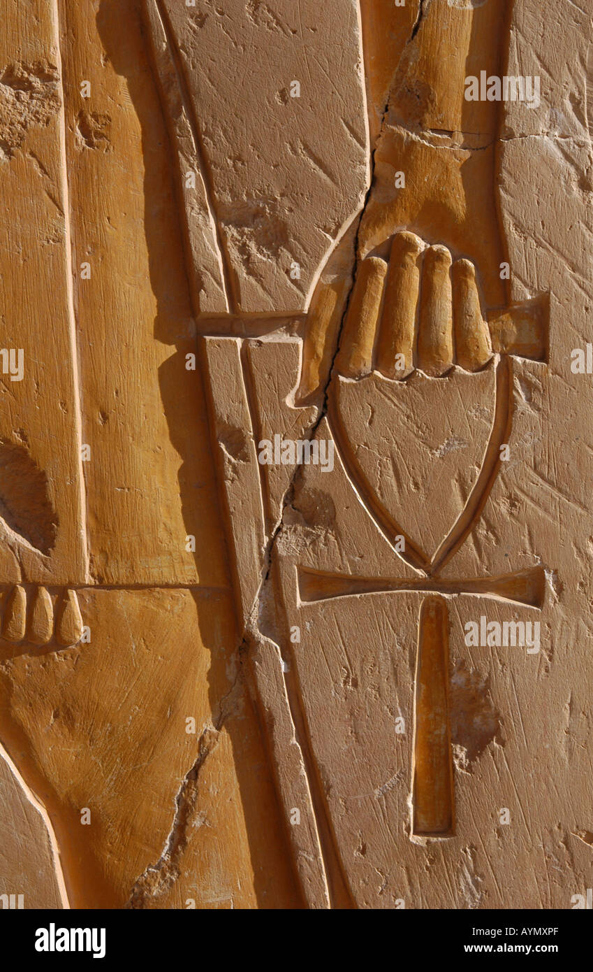 Ankh an ancient egyptian symbol of life in ahand of a god on the ankh an ancient egyptian symbol of life in ahand of a god on the wall of the temple of queen hatshepsut near luxor egypt biocorpaavc