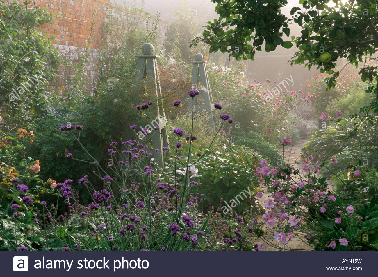 Sussex design fiona lawrenson mixed late summer border in walled stock photo royalty free image - Mixed style gardens ...