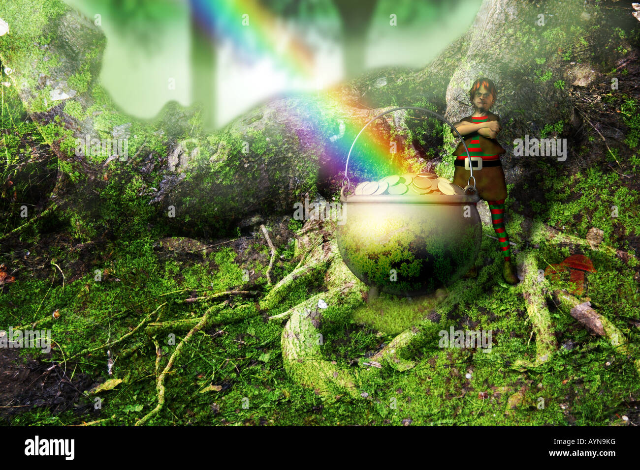 leprechaun with a pot of gold at the end of the rainbow stock