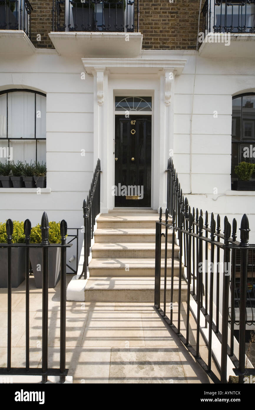 Black Front door in London Square Chelsea SW3 Stock Photo, Royalty ...