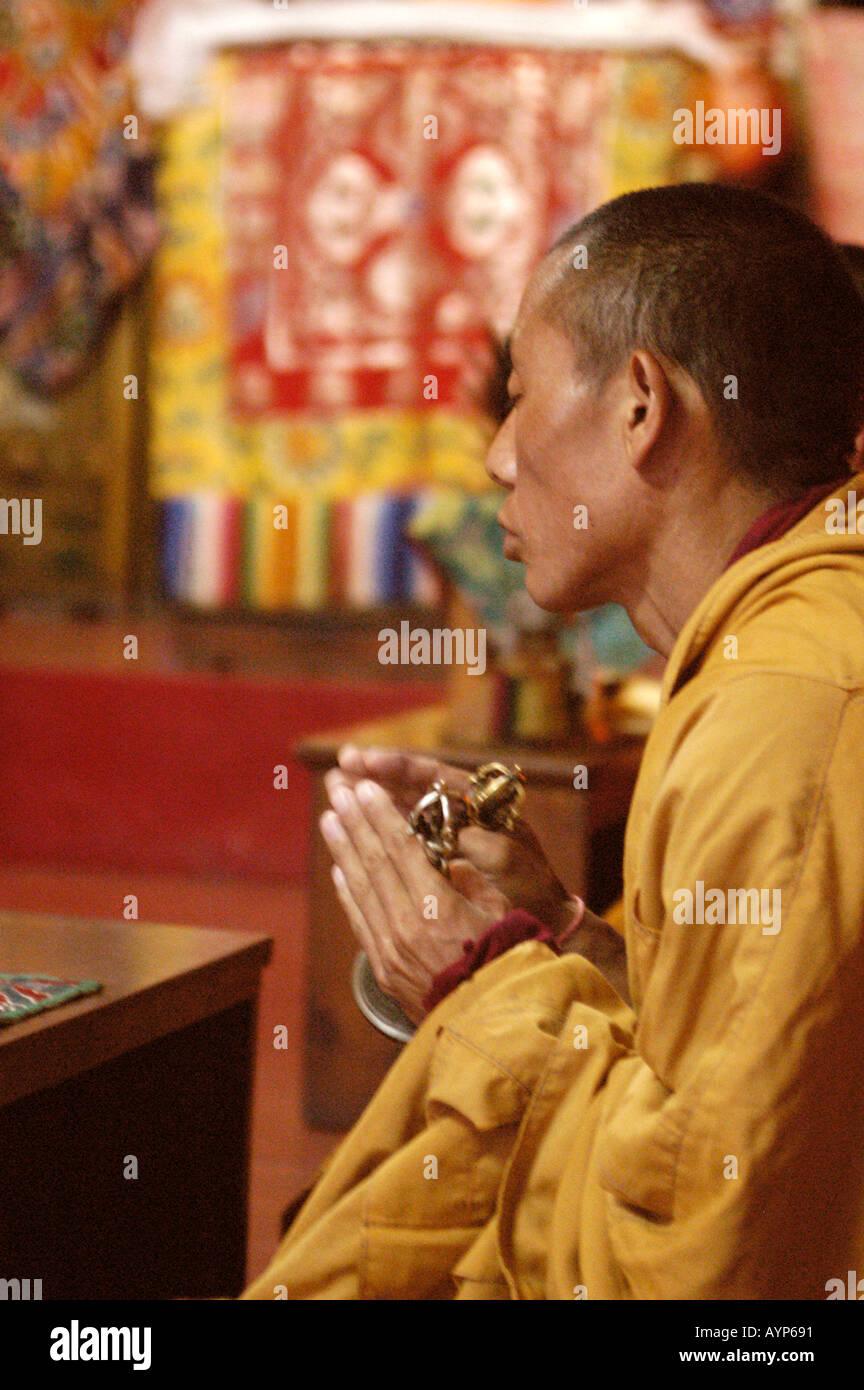 Tibetan Buddhist Monks Praying During Puja In Ghadong ...