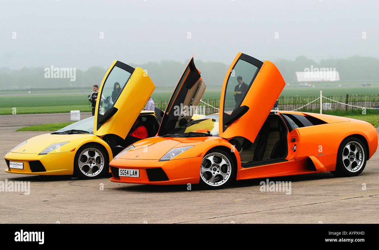 Front quarter view of Lamborghini Murcielago and Gallardo together with doors open & Front quarter view of Lamborghini Murcielago and Gallardo together ...