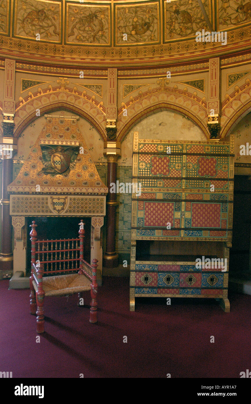 gold ornamented roomi inside fairytale castell coch aka red castle
