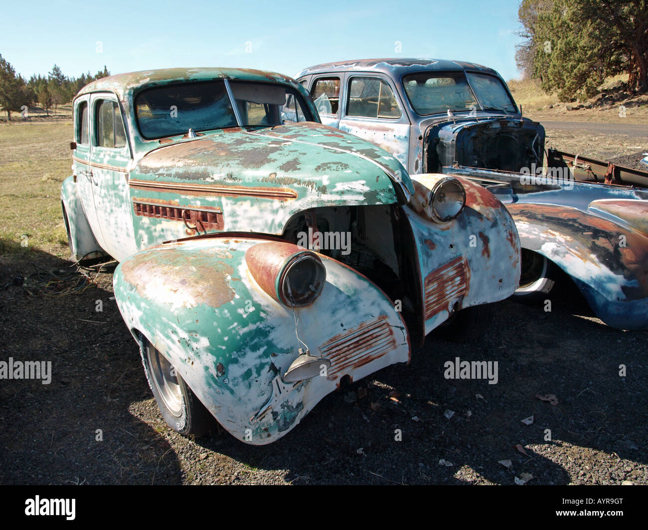 old wrecked cars from the 1930s at a private junkyard in bend oregon stock