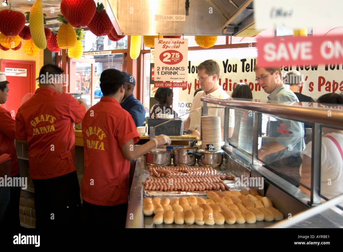 inside gray s papaya hot dog shop greenwich village manhattan new stock photo royalty free. Black Bedroom Furniture Sets. Home Design Ideas