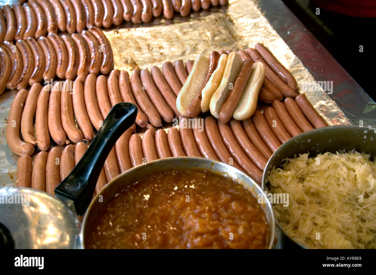 detail of hot dogs inside gray s papaya hot dog shop greenwich stock photo royalty free image. Black Bedroom Furniture Sets. Home Design Ideas