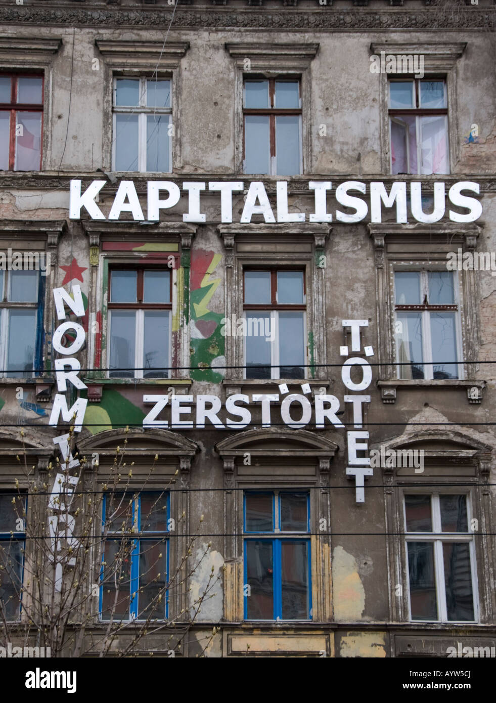 Signs on former East German apartment building says Capitalism ...