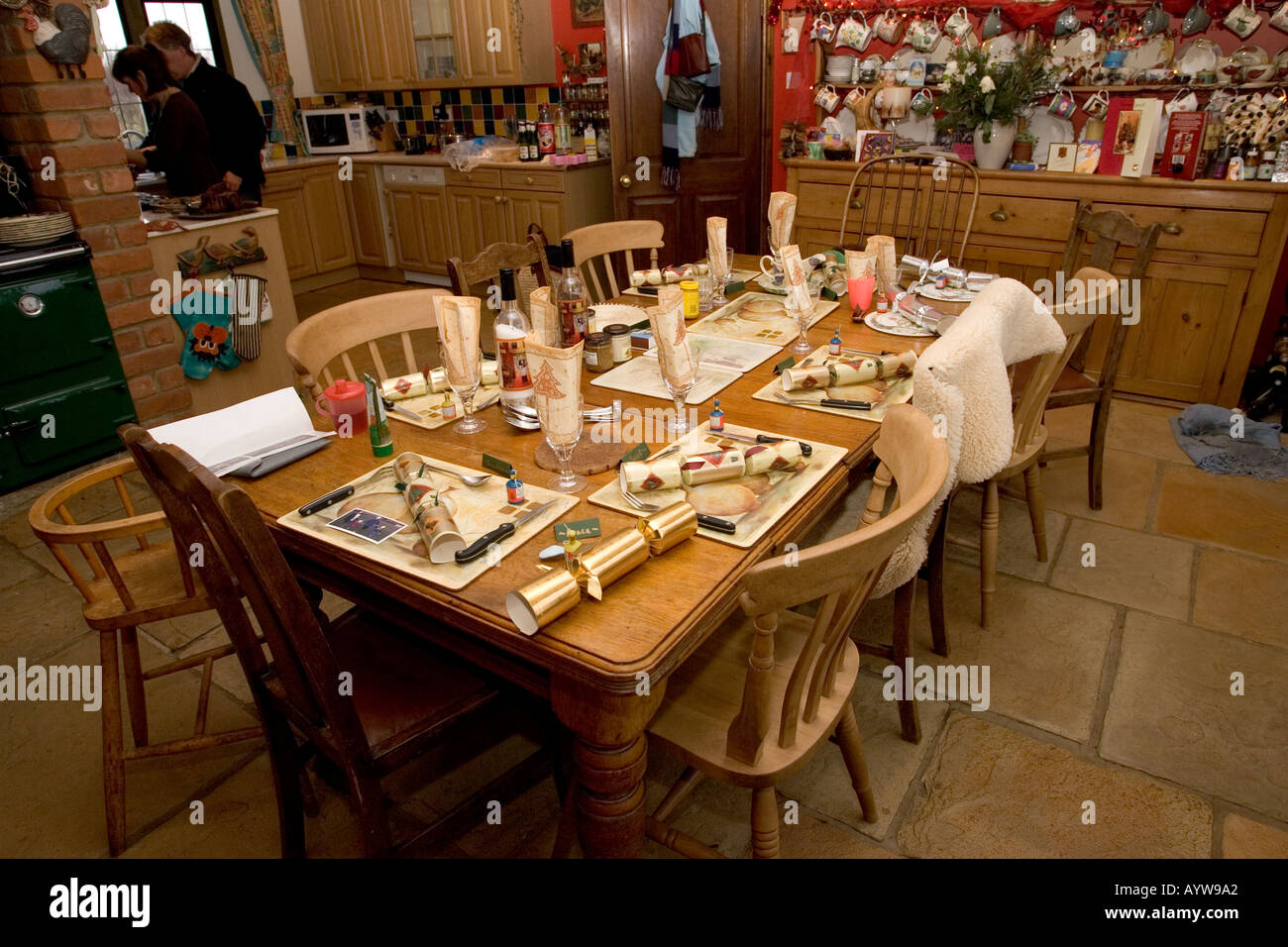 Farmhouse Kitchen Tables Uk Table Set For Christmas Lunch Farmhouse Kitchen Cotswolds Uk Stock
