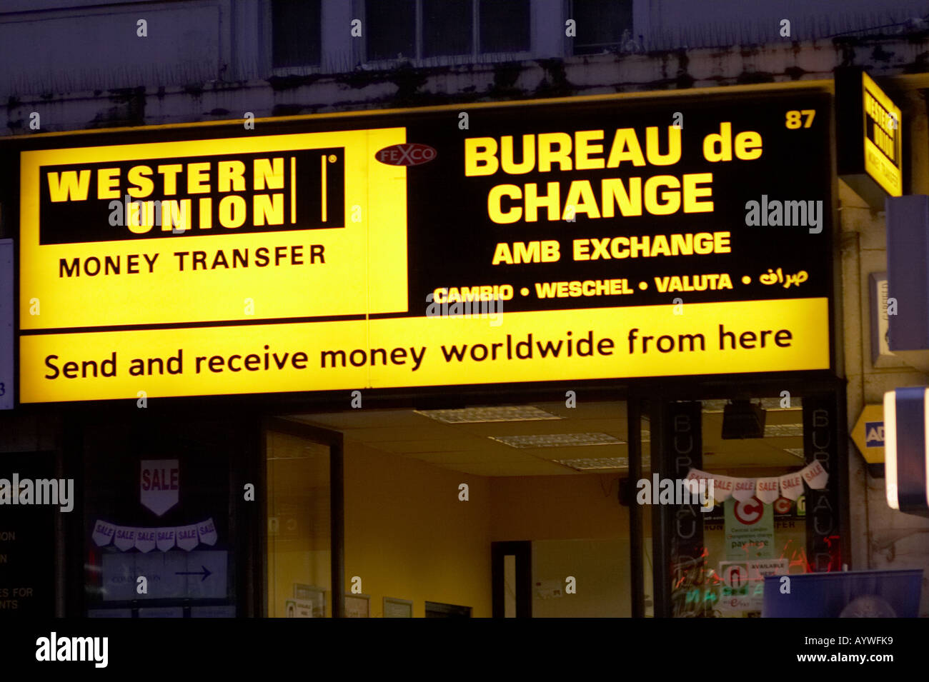 Western Union money transfer bureau de change in London UK Stock