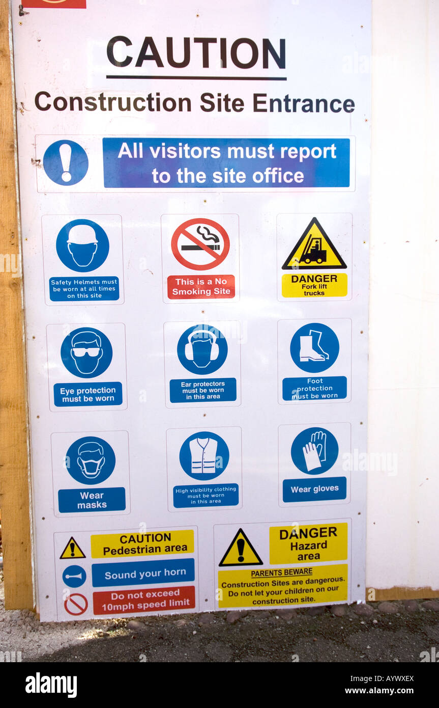 Construction site health and safety instructions signs Stock Photo ...
