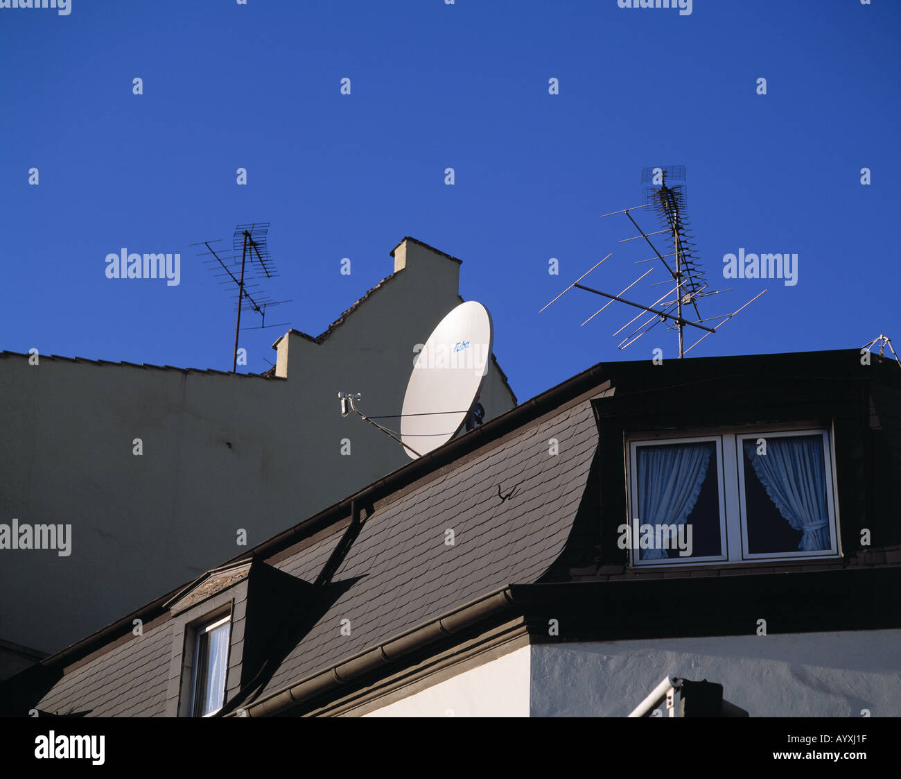 Parabolic Antenna And Customary Antennas On A House Roof, Digital And  Analogue, Analogous, Television, Radio, Radio Reception, Television Antenna,  TV Aerial ...