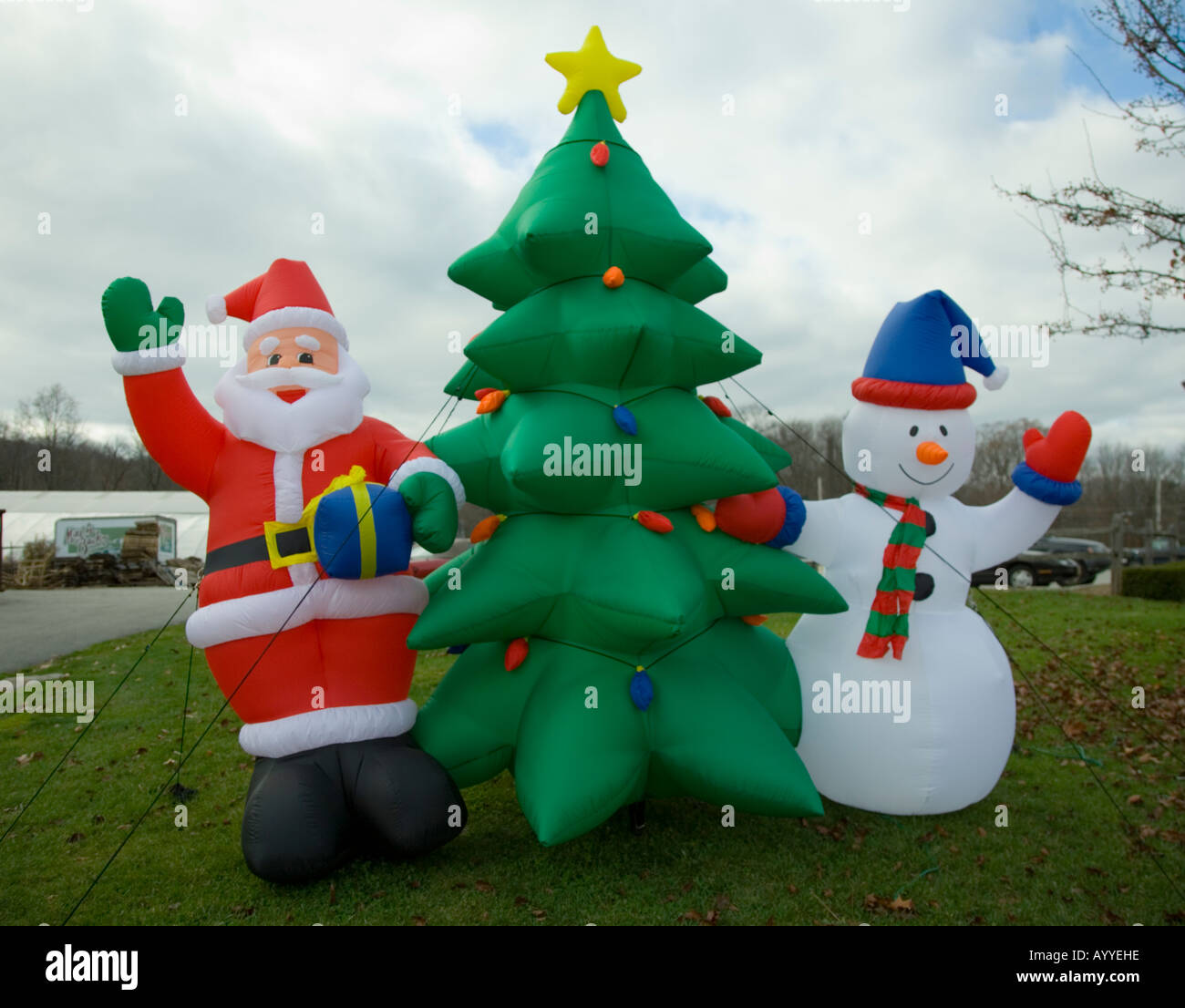 Inflatable christmas decorations for sale stock photo for Inflatable christmas decorations