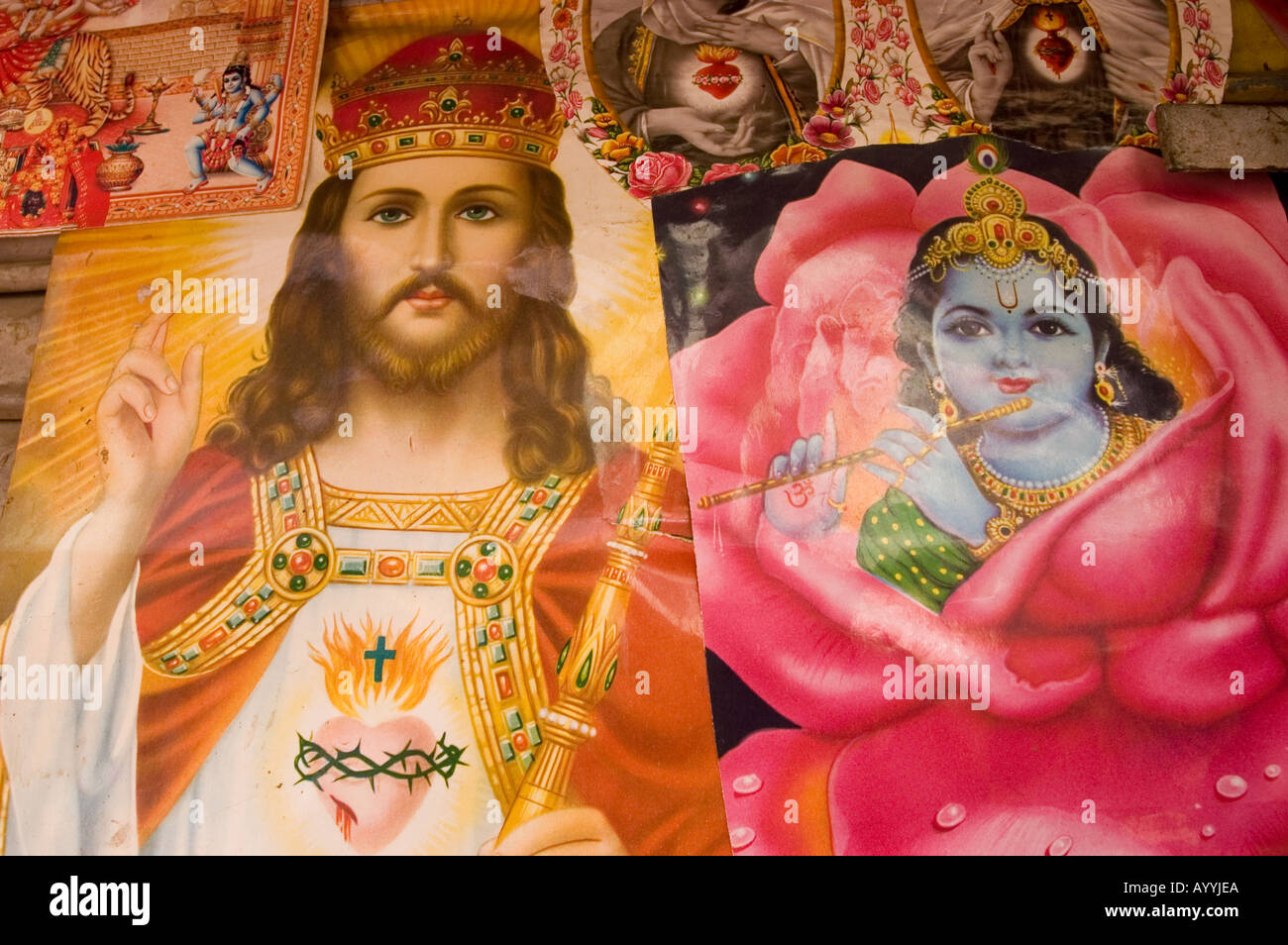 indian religious poster of jesus christ and lord krishna stock