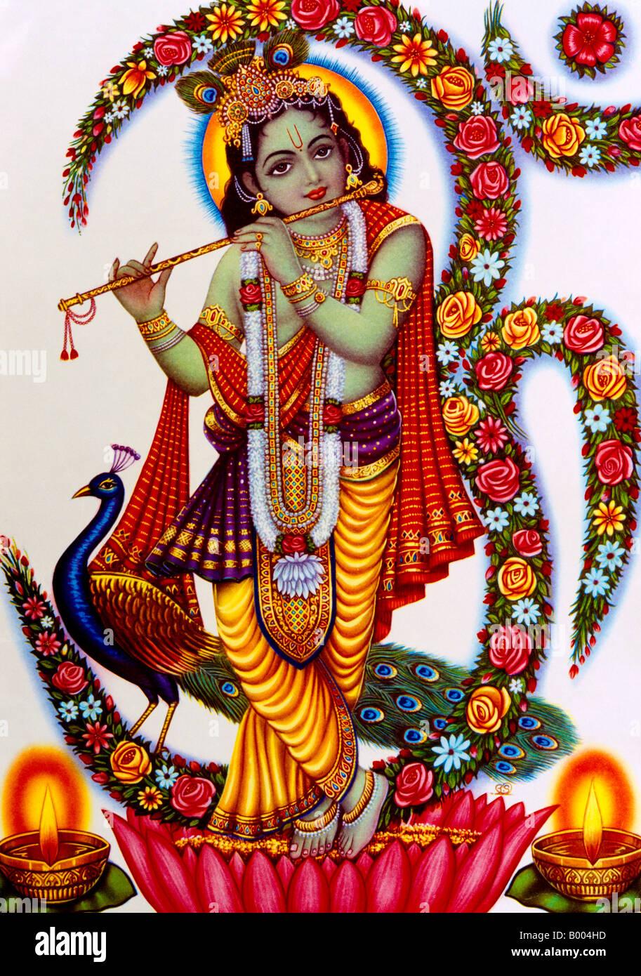 krishna playing flute hindu god stock photo 17213993 alamy