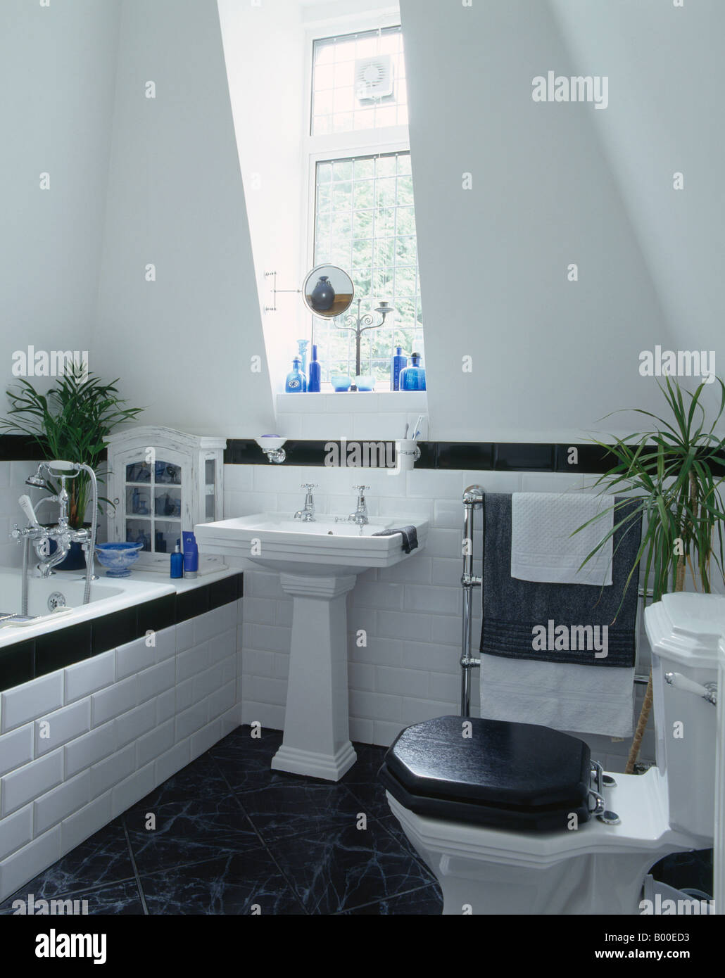 White Toilet With Black Seat. Black toilet seat and white pedestal basin in modern bathroom with  black flooring tiled dado