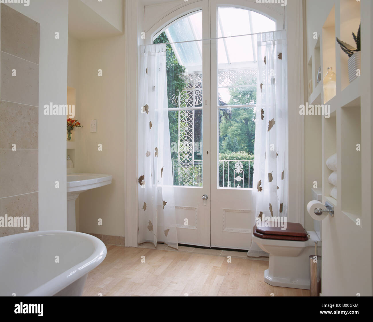 Modern French Bathroom: Patterned White Voile Curtains On French Doors In Modern