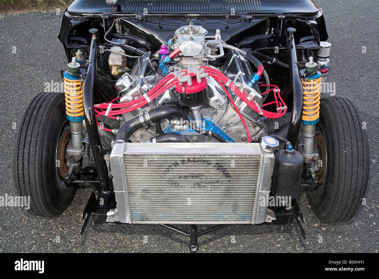 A heavily modified Ford V8 engine as used in a drag racing car ...