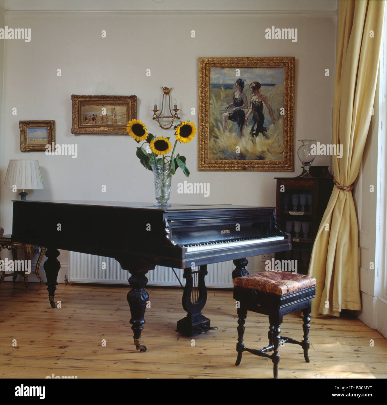 Amazing Grand Piano And Antique Piano Stool In Living Room With Pastel Yellow Silk  Curtain And Wooden Flooring Part 11