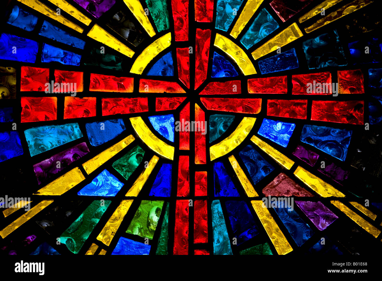 Cross Stained Glass Horizontal Window Above Altar In Christian Church Bright Colors