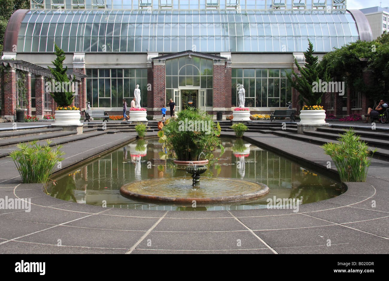 front view of a hothouse in winter gardens domain park auckland