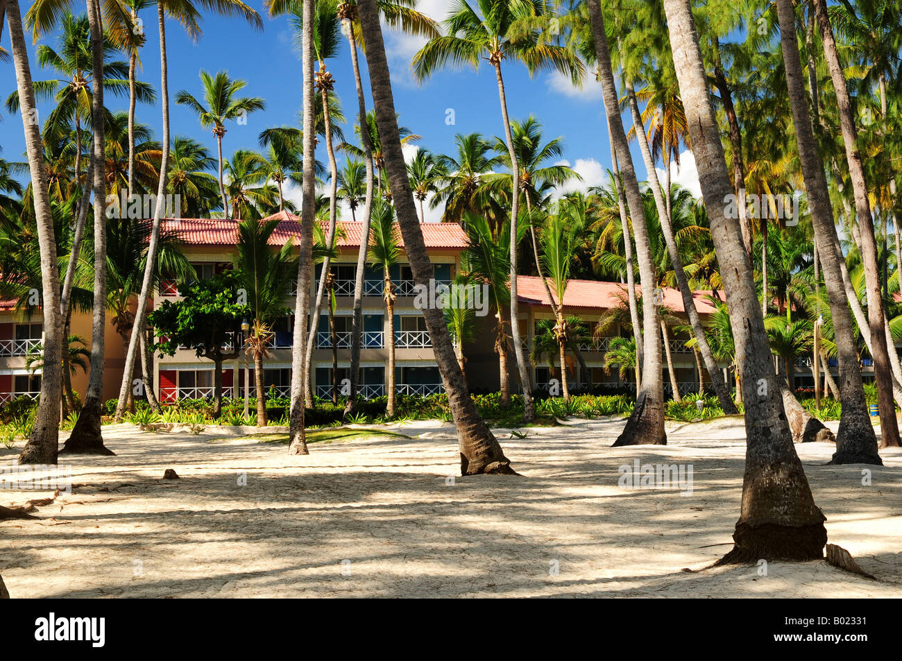 Luxury Hotel At Tropical Resort On Ocean Shore With Palm Trees Stock Photo Royalty Free Image