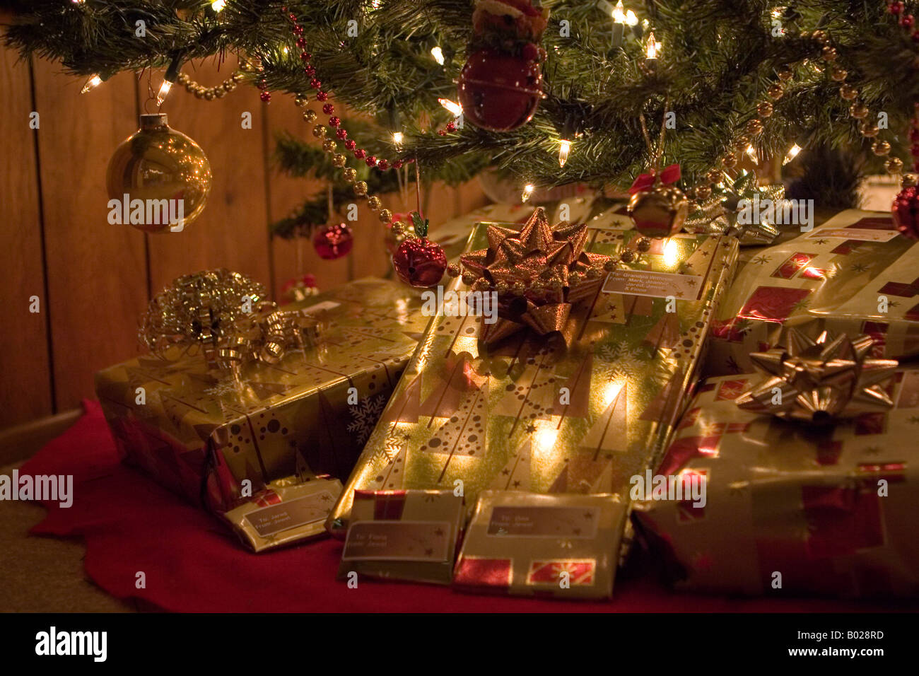 Wrapped Christmas Presents Under Christmas Tree Christmas